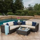 Isabel Outdoor 6pc Multibrown Wicker Sectional Sofa with Storage