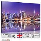 LARGE PURPLE NIGHT CITYSCAPE - STRETCHED CANVAS WALL ART PRINTS PICTURES