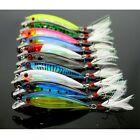 10 colors/Lot Minnow Fishing Lure Baits Bass Crankbait 6#Hook Tackle 9cm/7.2g