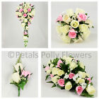 Artificial Wedding Flowers by Petals Polly, BOUQUET POSY BUTTONHOLES PINK IVORY
