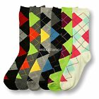 Womens Argyle Dress Socks 6 Pairs Lot Crew Stretch Spandex Fashion Casual New