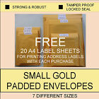 500 14x16cm 6p Small Gold Cheap Padded Envelopes Bubble Wrap Lined Value Bags