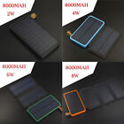 8000mAh Solar Panel External Battery Charger Power Bank For Cell Phone Tablets
