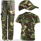 BOYS ARMY OUTFIT KIDS TROUSERS T-SHIRT CAP DPM CAMO FANCY DRESS COSTUME SOLDIER