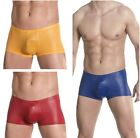 Men's Sexy Gothic Faux Leather Underwear Boxers Briefs Male Underpants Shorts