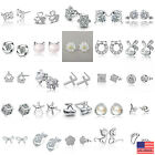 US Women Silver Plated Crystal Rhinestone Elegant  Ear Stud Earrings Gift Box