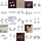 Women Fashion 925 Sterling Silver Plated Crystal Ear Stud Silver Earring Jewelry