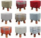 Small Square Modern Ottoman Foot Stool Check Chenille Linen Padded Seat Rest
