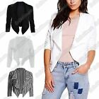 New Ladies 3/4 Sleeve Open Front Plain Waterfall Style Cropped Blazer Coat Top