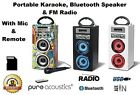 Pure Acoustics Portable Karaoke With Mic Bluetooth Speaker FM Radio SD Card USB