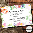 Save The Date Wedding Cards Beautiful Boho Personalised Floral Watercolour Theme