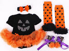 Halloween Witch tutu romper set headband, leg warmers and shoes Party Baby girl