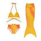 Yellow 3pcs set Kids Girls Mermaid Tail Swimwear Swimsuit Swim Costumes Bikini