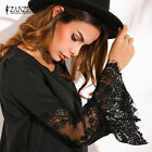 ZANZEA Damen Sommer Lace Crochet Hollow Trompete Ärmel Loose Mini Shirt Kleid