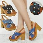 Womens Ladies Wedge Heel Rock Sandals Summer Stud Platform Denim Open Toe Size