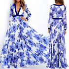 Womens V Neck Floral Wedding Prom Cocktail Party Vintage Swing Maxi Long Dresses