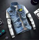 Fashion Men's Outwear Denim Retro Cotton White Sleeve Vintage Jacket Coat Blue