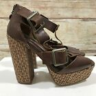 LIPSY Brown Heels Sandals Leather Chunky Summer Buckle Peep Toe Size UK 4 0990