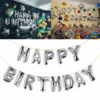 """16""""Gold Silver Happy Birthday Self Inflating  Banner Balloon Bunting Party Decor"""