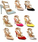 Ladies Stud Strappy Ankle High Heel T Bar Shoes Court Stiletto Point Toe UK 3-8