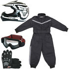Leopard  X16 Black Kids Motocross MX Helmet Motorbike Race Suit Gloves Goggles
