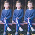Kid Baby Girls Skinny Mermaid Shiny Fish Scale Leggings Stretchy Pants Trousers