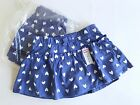 Jumping Beans® Girls Scooter Skirt Clothing NWT Blue w/ White Hearts 2T,3T,4T