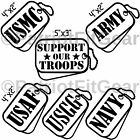 Support our troops,Dog Tags,SET OF 6,USMC,Navy,Army,USAF,USCG,Vinyl Decal