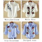 Women Floral Stripes Embroidery Summer T-Shirt Loose Blouse Casual Tees Tops