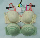 M & S PACK 2  BALCONY BRAS PADDED CREAM / GREEN  cotton mix MARKS & SPENCER