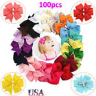 100pcs Boutique Hair Bows Girls Alligator Clip Grosgrain Ribbon Hair Clips USA