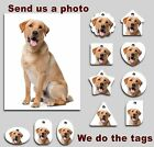 5 pack of Custom Made Plastic photo Dog Tags with Split Ring -Standard