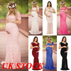 UK Slit Pregnant Women Maxi Dresses Maternity Gown Photography Props Photo Shoot