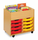 Monarch 4 Bay Wooden Book Trolley with Tray Storage - Various Options Available
