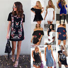 Women Summer Boat Neck Off Shoulder Sundress Beach Skirts Mini Dress Backless UK