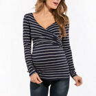 Pregnant Women Striped LONG SLEEVE Tops Breastfeeding Maternity Nursing T-Shirts