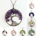 Opal Opalite Black Onyx  Red Agate Wire Wrap Tree of Life Round Pendant Necklace