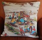 """Western Barkcloth Pillow Cover """"On The Range-Cm"""" 50's Cowboy Up. Faux Suede/Canv"""