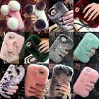 Shockproof Hybrid Fluzzy Rabbit Flush Fur Bling Soft Warm Back Case Cover For LG