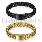 Polished Men's Black Heavy Stainless Steel Curb Chain Bracelet Link Bangle Cuff
