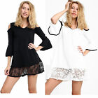 New Womens Ladies Cold Shoulder Frill Sleeve Lace Hem Short Mini Oversized Dress
