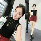 Korean Fashion Women Sleeveless Knit Vest Tank Top Ribbed Shirts Blouse Sweater