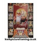 "Sikh Gurus From Sikhism Picture Framed In Size  - 7"" x 5""  
