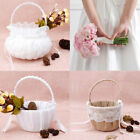 Внешний вид - Romantic Bowknot Burlap Satin Ceremony Wedding Party Rose Flower Girl Basket