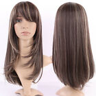 Elegant Women Layered Straight Wavy Full Wig Heat Resistant Party Blonde Brown C