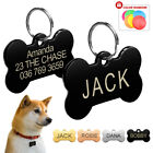 Bone Pet Dog Tags Engraved Pet Puppy ID Name Collar stainless steel Tags  S L