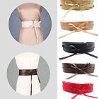 Womens Stretch Buckle Waist Belt Bow Wide Leather Elastic Corset Waistband US