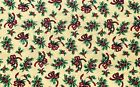 Christmas Bows and Holly on Yellow Cotton Quilt Fabric Sewing Crafts