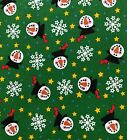 Christmas Snow Man Snow Flakes Stars Cotton Quilt Fabric Sewing Crafts