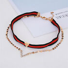Women Charm Chic Crystal Double Layer Chokers Collar Necklaces Chain Gifts